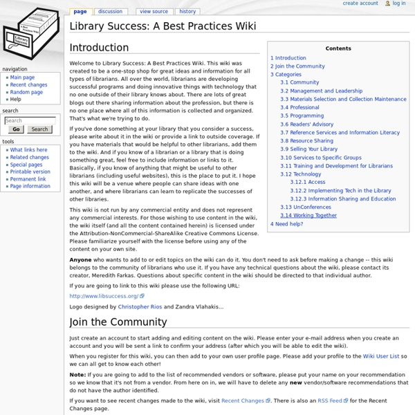 Library Success: A Best Practices Wiki - Library Success: A Best Practices Wiki