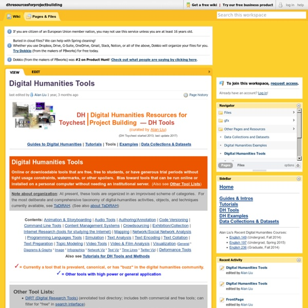 Dhresourcesforprojectbuilding [licensed for non-commercial use only] / Digital Humanities Tools