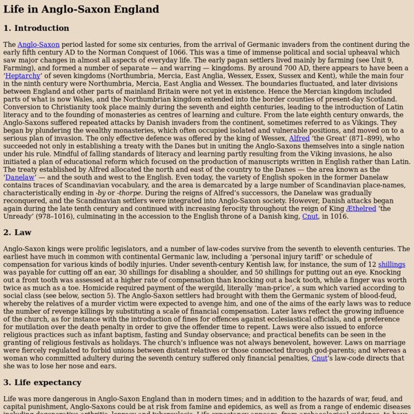 Life in Anglo-Saxon England