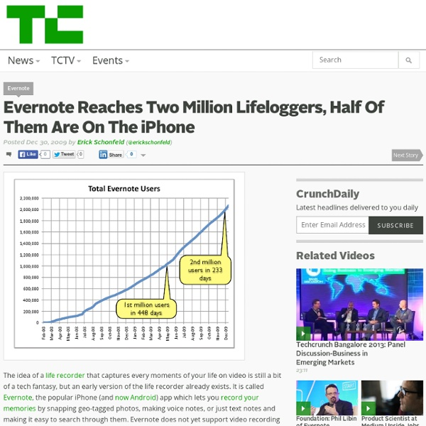 Evernote Reaches Two Million Lifeloggers, Half Of Them Are On Th