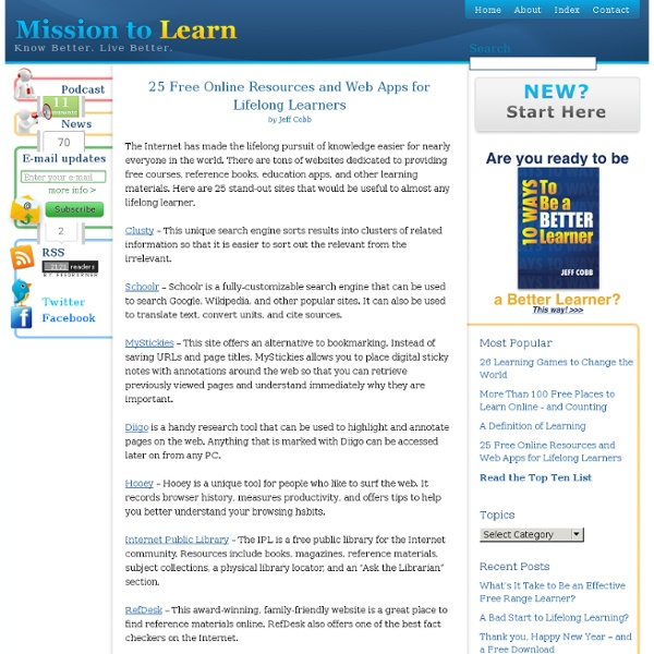 25 Free Lifelong Learning Resources