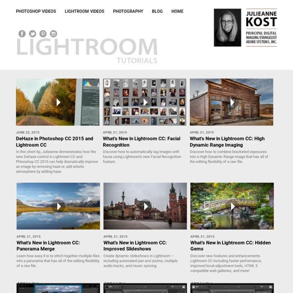 Julieanne Kost. Senior Digital Imaging Evangelist, Adobe Systems, Inc. Adobe Lightroom tutorials.