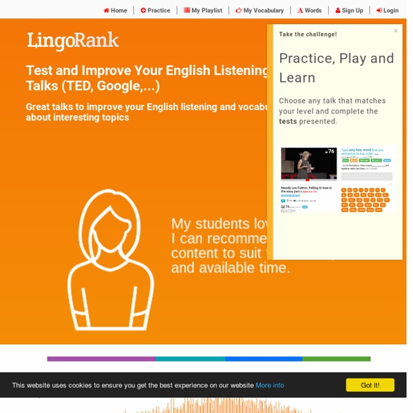 English listening exercises and tests with selected talks