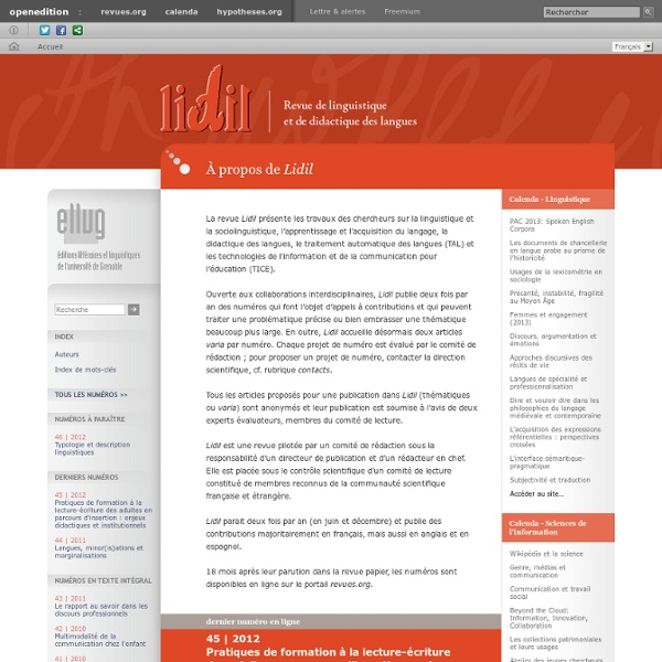 Lidil - Revue de linguistique et de didactique des langues