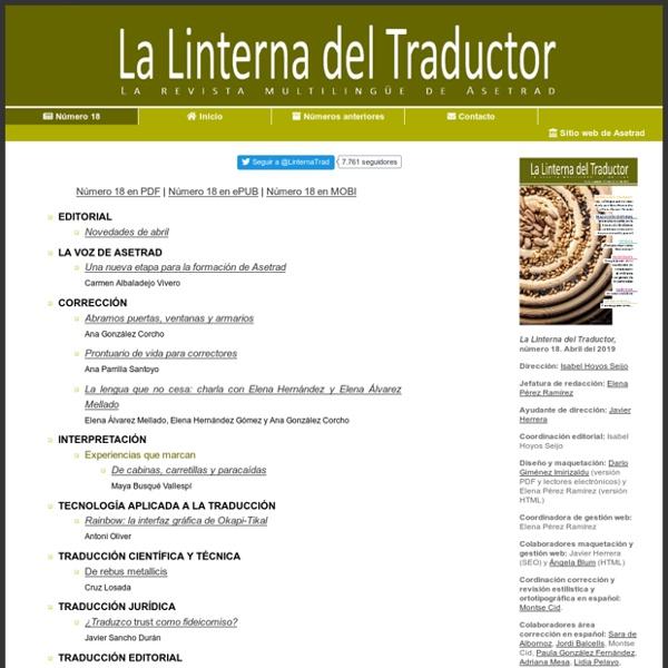 Último número de La Linterna del Traductor: Revista de Asetrad