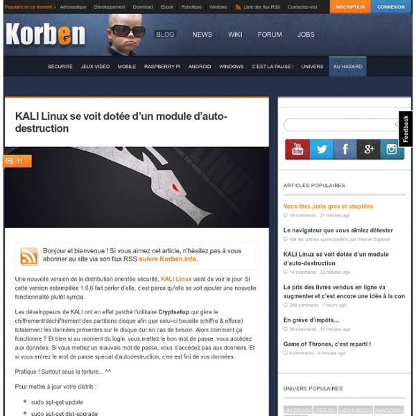KALI Linux se voit dotée d'un module d'auto-destruction