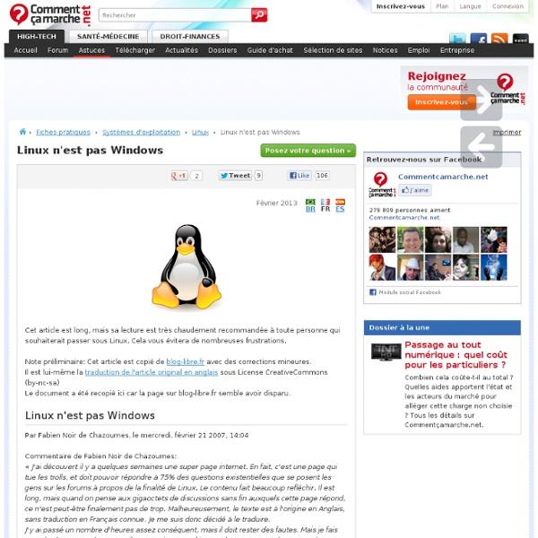 Linux n'est pas Windows