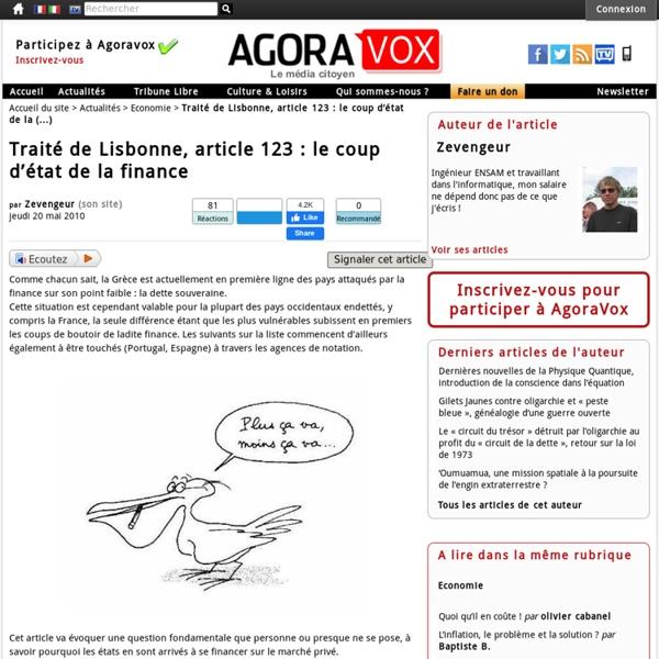 Traité de Lisbonne, article 123 : le coup d'état de la finance