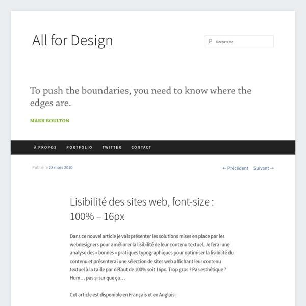 Lisibilité des sites web, font-size : 100% – 16px