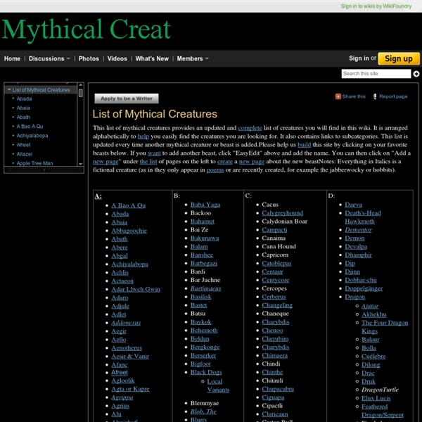 List of Mythical Creatures