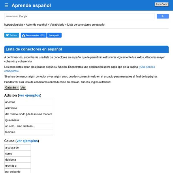 Lista de conectores en español