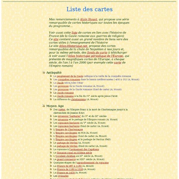 Liste des cartes