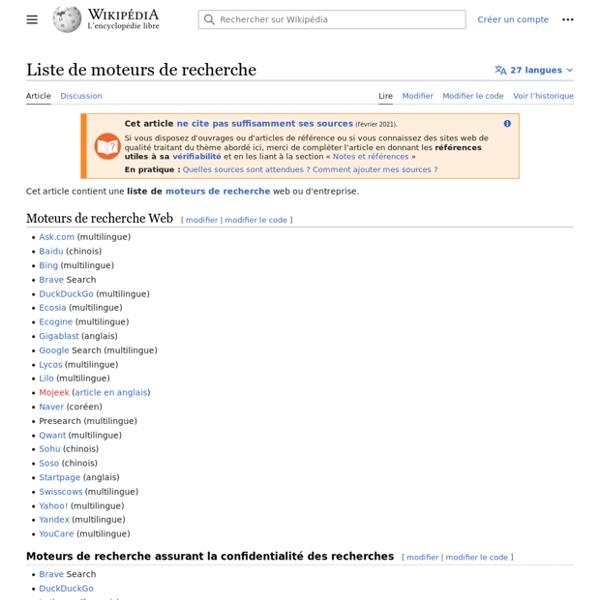 Liste de moteurs de recherche