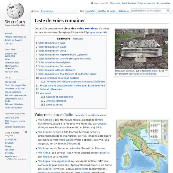 Liste de voies romaines