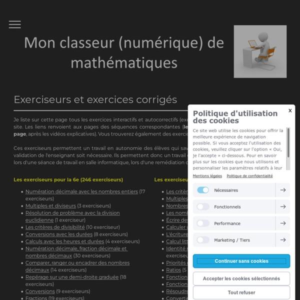 Liste des exerciseurs - Mon classeur de maths