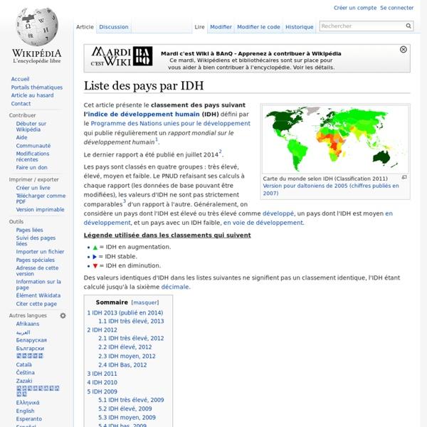 Liste des pays par IDH