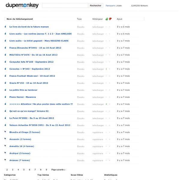 Liste des ebooks à télécharger