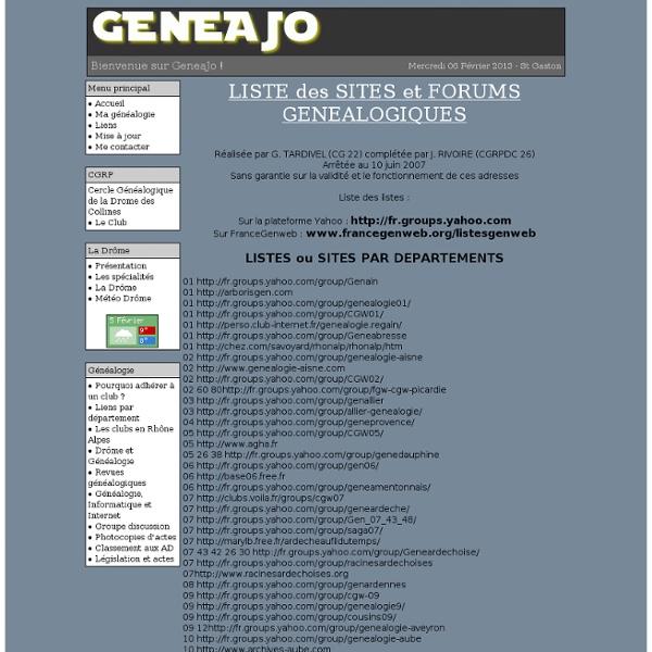 LISTE des SITES et FORUMS GENEALOGIQUES