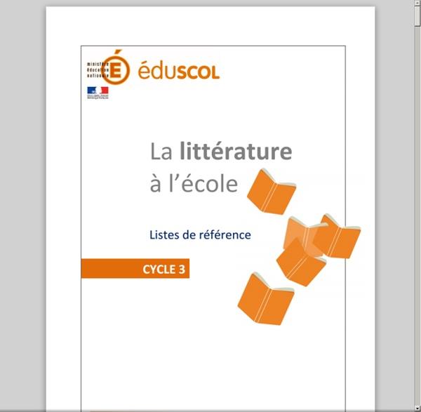 Littérature - Liste de référence Cycle 3