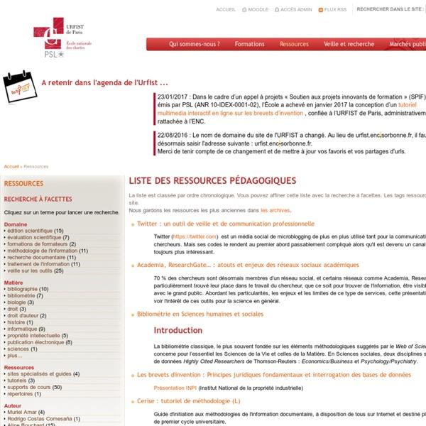 Liste des ressources pédagogiques