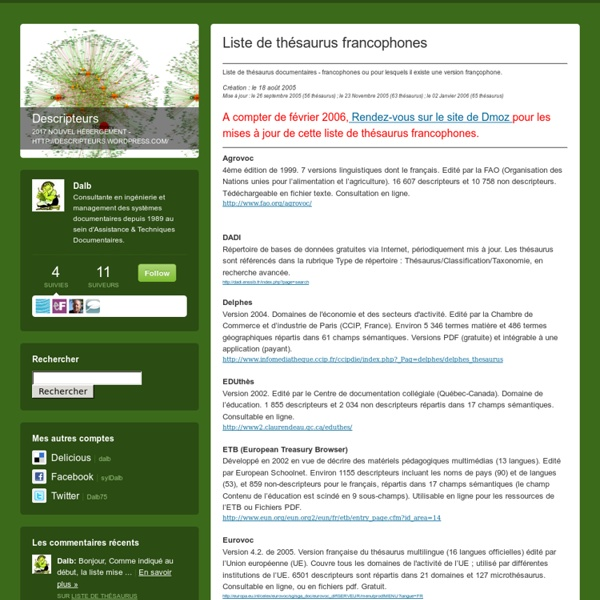 Liste de thésaurus francophones