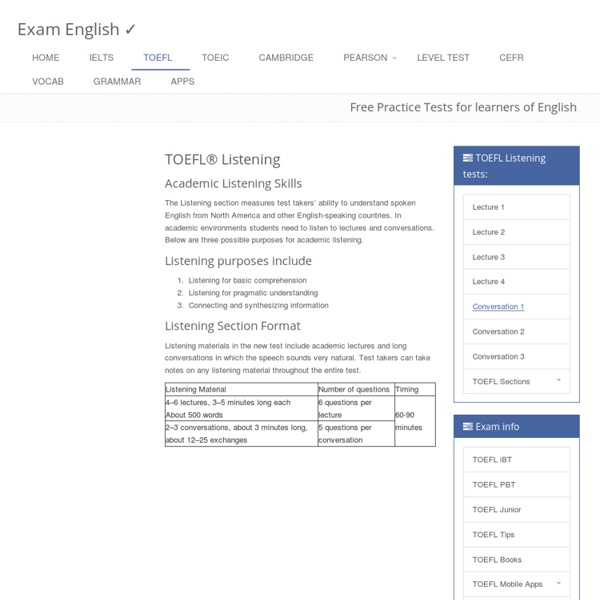 TOEFL® Listening : free practice exercises from Exam English