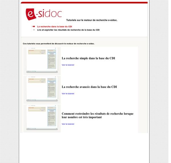 E-sidoc : tutoriels pour élèves