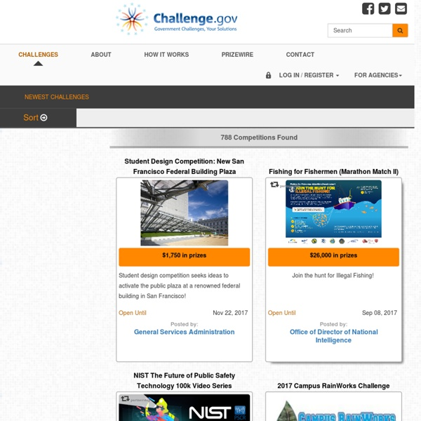 The central platform for crowdsourcing US Government challenges, contests, competitions and open innovation prizes