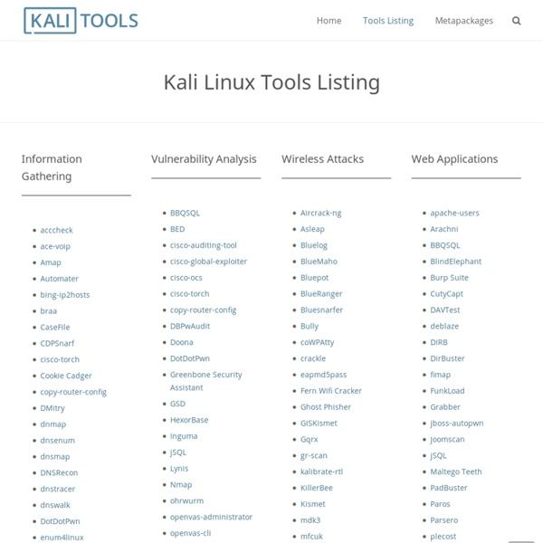 Kali Linux Tools Listing