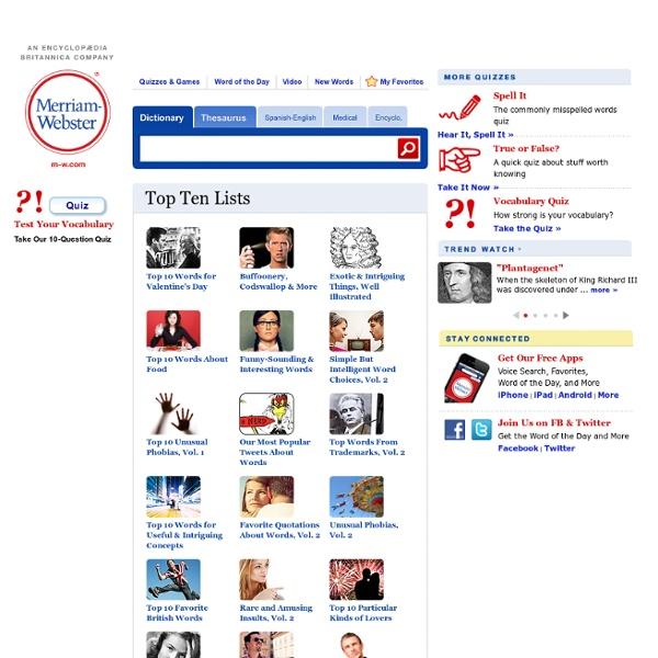 Top Ten Lists - Merriam-Webster Online