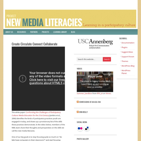 New Media Literacies — Learning in a Participatory Culture