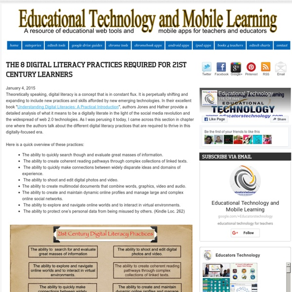 The 8 Digital Literacy Practices Required for 21st Century Learners ~ Educational Technology and Mobile Learning