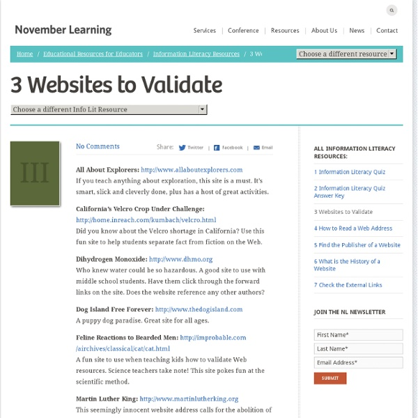 III. Websites to Validate