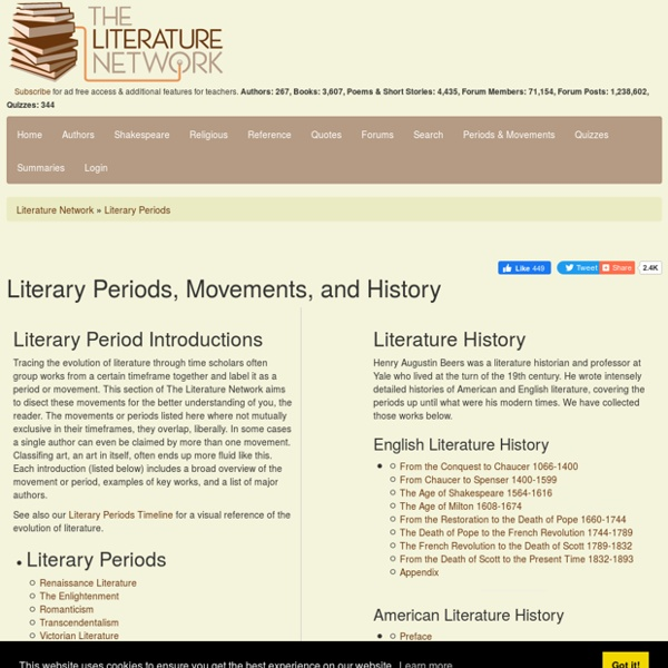 Literature Periods & Movements. Literary History
