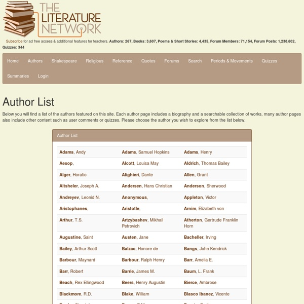 The Literature Network: Online classic literature, poems, and quotes. Essays & Summaries