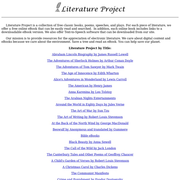 Literature Project - Free eBooks Online - StumbleUpon