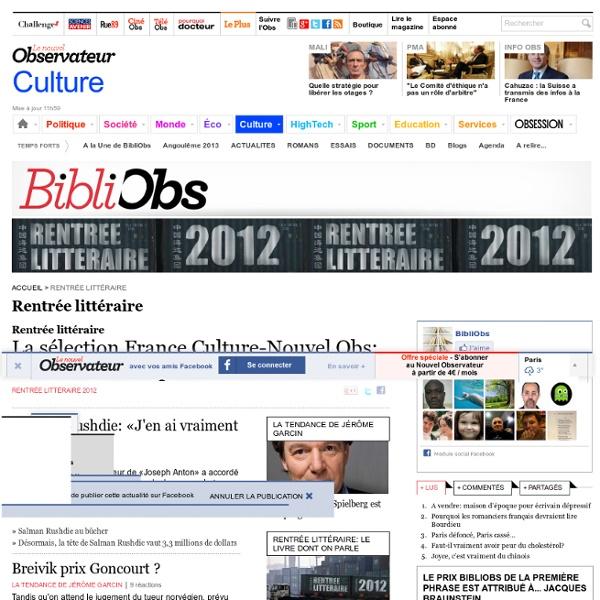 Toute l'actualité de Bibliobs - Le site littéraire de NouvelObs.com