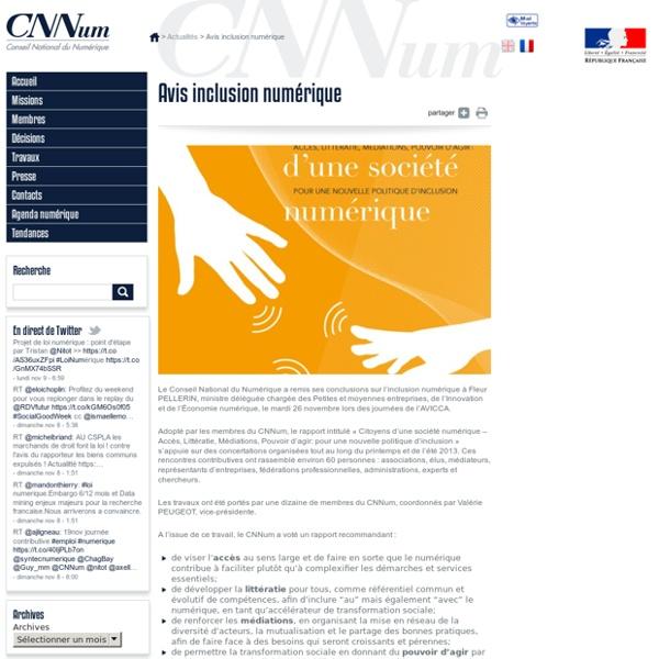 Rapport « Citoyens d'une société numérique - Accès, Littératie, Médiations, Pouvoir d'agir: pour une nouvelle politique d'inclusion »