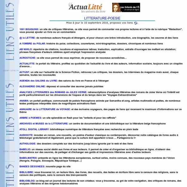 Répertoire de sites littéraires