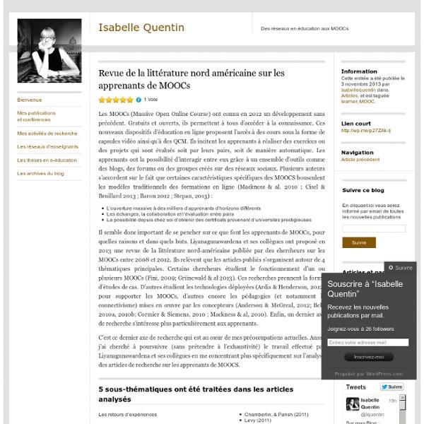 Revue de la littérature nord américaine sur les apprenants de MOOCs