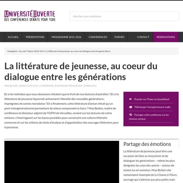 La littérature de jeunesse, au coeur du dialogue entre les générations