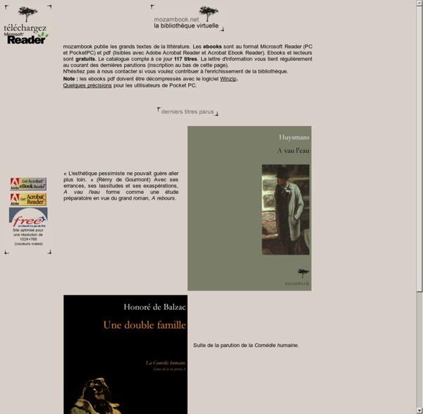 Mozambook - les ebooks de littérature - ebooks of literature