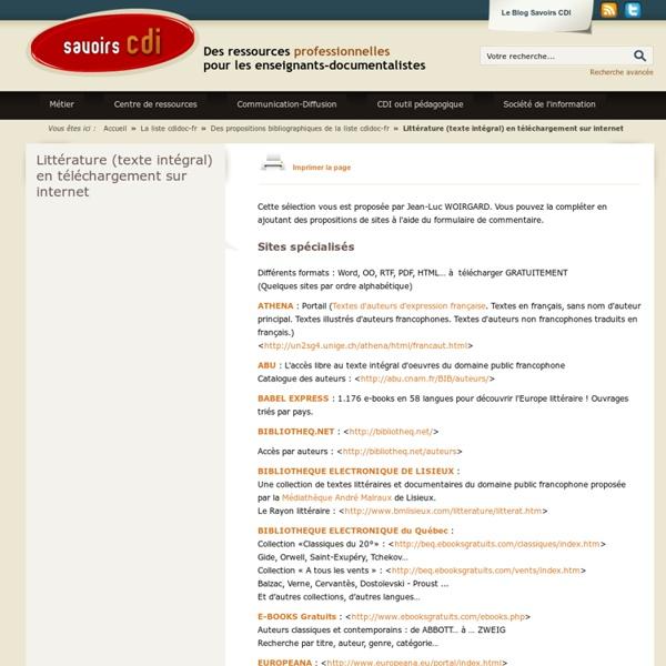 Littérature (texte intégral) en téléchargement sur internet