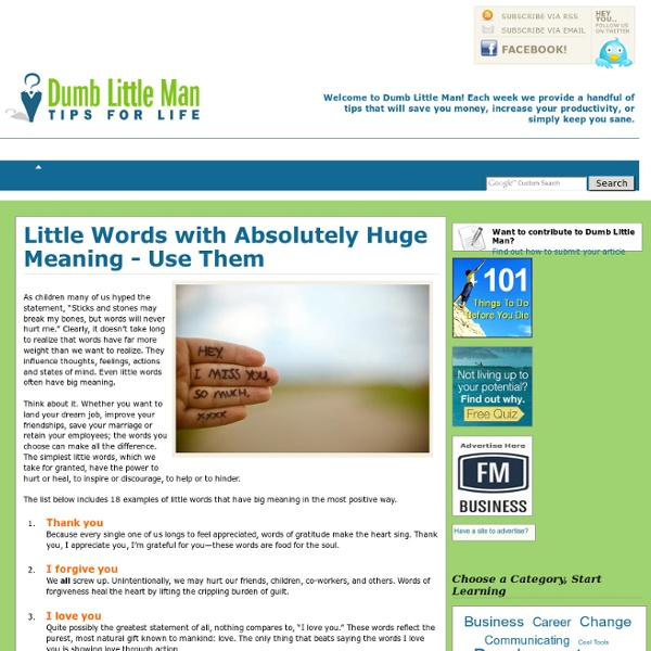 Little Words with Absolutely Huge Meaning - Use Them - by Dumb Little Man - StumbleUpon