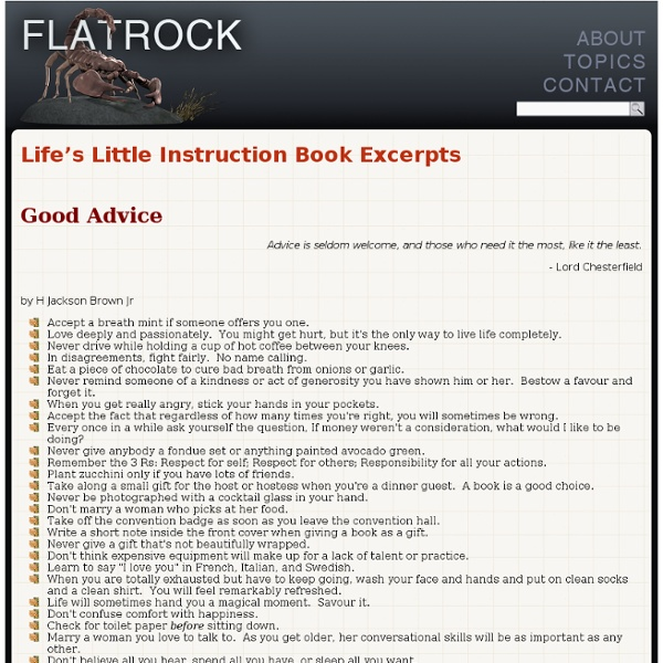 Life's Little Instruction Book Excerpts