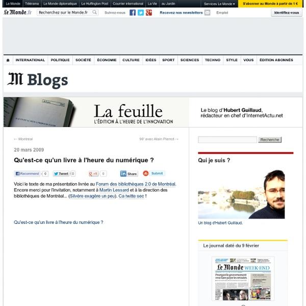 Qu'est-ce qu'un livre à l'heure du numérique ? - La Feuille - Blog LeMonde.fr