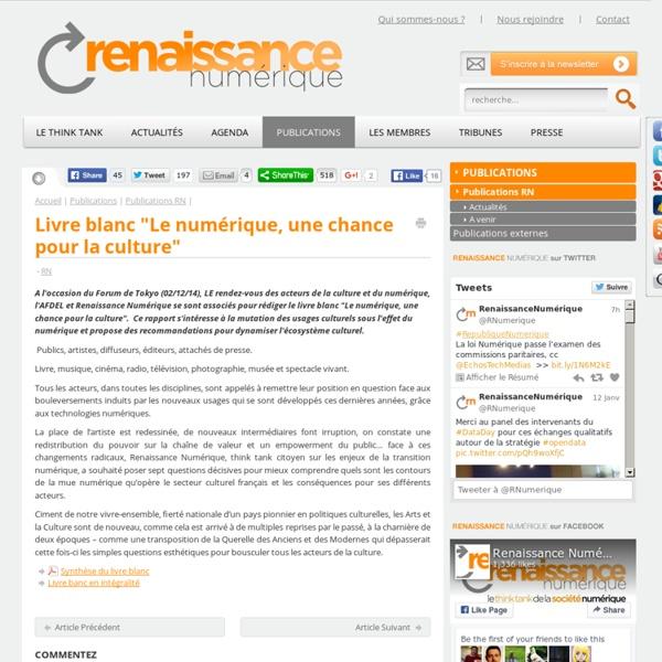 """Livre blanc """"Le numérique, une chance pour la culture"""""""