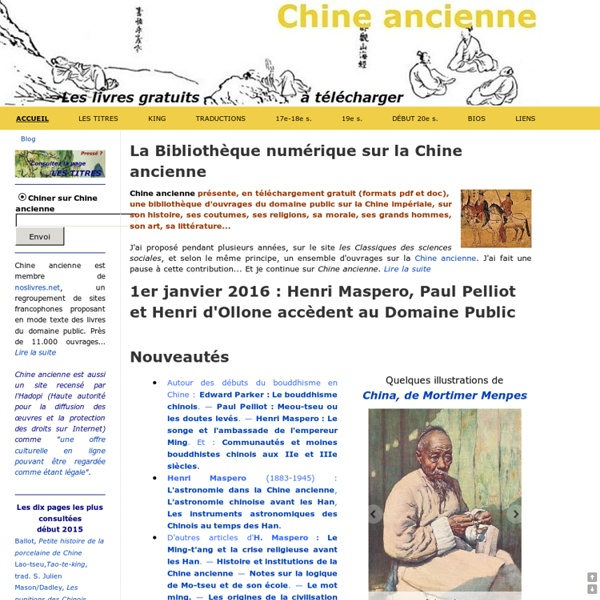 Les livres gratuits à télécharger - Bibliothèque Chine ancienne