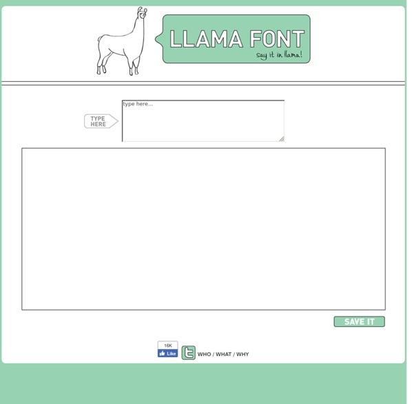 Llama font - say it in llama