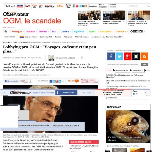 """Lobbying pro-OGM : """"Voyages, cadeaux et un peu plus..."""""""
